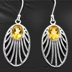 5.97cts natural yellow citrine 925 sterling silver dangle earrings d40055