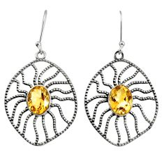 6.18cts natural yellow citrine 925 sterling silver dangle earrings d40113