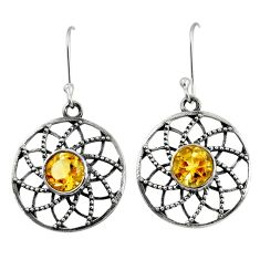 4.52cts natural yellow citrine 925 sterling silver dangle earrings d40137