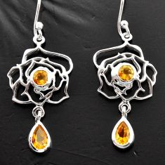 4.06cts natural yellow citrine 925 sterling silver dangle earrings d40176