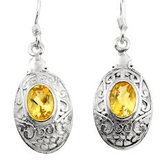 3.29cts natural yellow citrine 925 sterling silver dangle earrings d45723