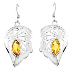 5.13cts natural yellow citrine 925 sterling silver dangle earrings d45732
