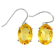 10.65cts natural yellow citrine 925 sterling silver dangle earrings r25826