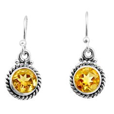4.62cts natural yellow citrine 925 sterling silver dangle earrings r26727