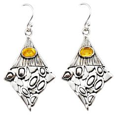 3.35cts natural yellow citrine 925 sterling silver dangle earrings r32953