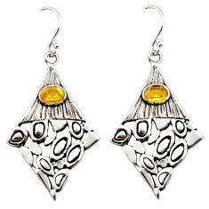 3.00cts natural yellow citrine 925 sterling silver dangle earrings r32954