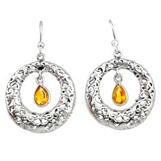 2.13cts natural yellow citrine 925 sterling silver dangle earrings r33028