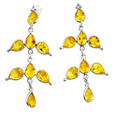 12.96cts natural yellow citrine 925 sterling silver dangle earrings r33081