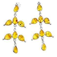 12.27cts natural yellow citrine 925 sterling silver dangle earrings r33085