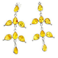 12.38cts natural yellow citrine 925 sterling silver dangle earrings r33088