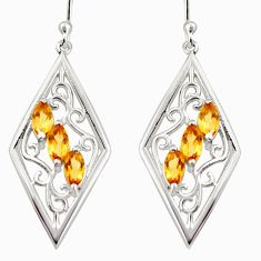 6.26cts natural yellow citrine 925 sterling silver dangle earrings r36689