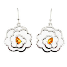 2.26cts natural yellow citrine 925 sterling silver dangle earrings r36736