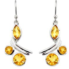 8.74cts natural yellow citrine 925 sterling silver dangle earrings r36746