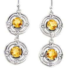 5.43cts natural yellow citrine 925 sterling silver dangle earrings r36842