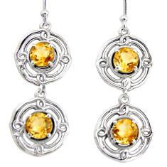 5.09cts natural yellow citrine 925 sterling silver dangle earrings r36846