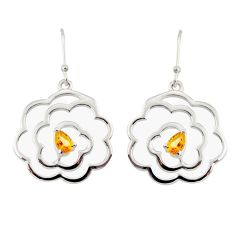 2.50cts natural yellow citrine 925 sterling silver dangle earrings r36847