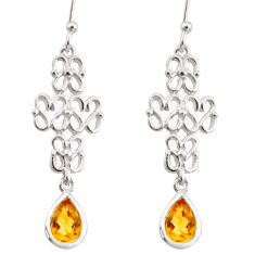 3.39cts natural yellow citrine 925 sterling silver dangle earrings r36886
