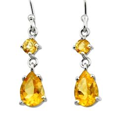 4.73cts natural yellow citrine 925 sterling silver dangle earrings r45431