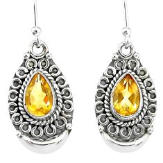 4.38cts natural yellow citrine 925 sterling silver dangle earrings r89307