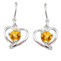1.81cts natural yellow citrine 925 sterling silver dangle heart earrings d45786