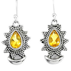 4.64cts natural yellow citrine 925 sterling silver dangle moon earrings r89154