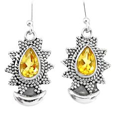 4.87cts natural yellow citrine 925 sterling silver dangle moon earrings r89171