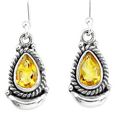 4.17cts natural yellow citrine 925 sterling silver dangle moon earrings r89191