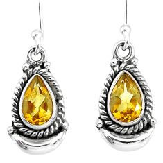 4.21cts natural yellow citrine 925 sterling silver dangle moon earrings r89212