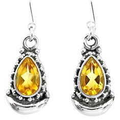 4.09cts natural yellow citrine 925 sterling silver dangle moon earrings r89221