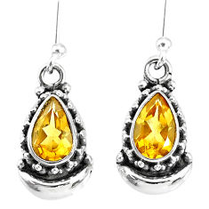 3.97cts natural yellow citrine 925 sterling silver dangle moon earrings r89241
