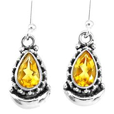 4.43cts natural yellow citrine 925 sterling silver dangle moon earrings r89245