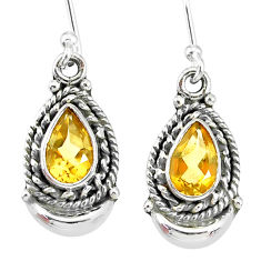 4.47cts natural yellow citrine 925 sterling silver dangle moon earrings r89261