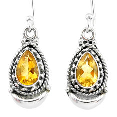 4.49cts natural yellow citrine 925 sterling silver dangle moon earrings r89288