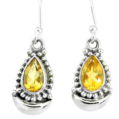 4.34cts natural yellow citrine 925 sterling silver dangle moon earrings r89362