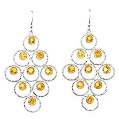 7.66cts natural yellow citrine 925 sterling silver earrings jewelry r38766
