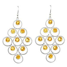 7.40cts natural yellow citrine 925 sterling silver earrings jewelry r38767