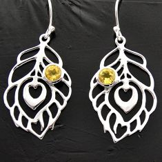 1.94cts natural yellow citrine 925 sterling silver feather charm earrings d40003