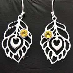 1.82cts natural yellow citrine 925 sterling silver feather charm earrings d40004