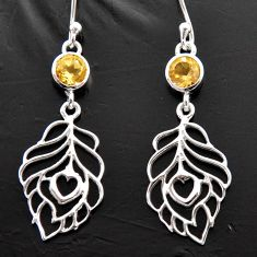 1.84cts natural yellow citrine 925 sterling silver feather charm earrings d40166