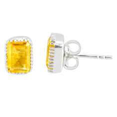 3.21cts natural yellow citrine 925 sterling silver stud earrings jewelry r77081