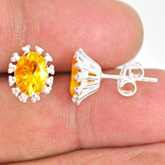 3.98cts natural yellow citrine 925 sterling silver handmade stud earrings r82920
