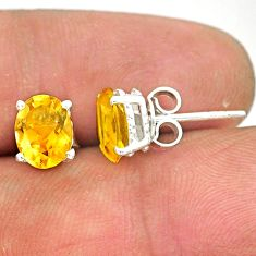 4.16cts natural yellow citrine 925 sterling silver handmade stud earring r83681