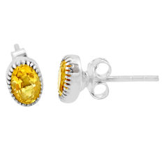 2.22cts natural yellow citrine 925 sterling silver stud earrings jewelry r87501