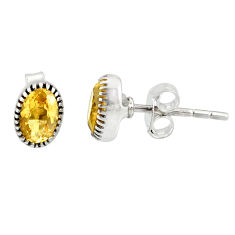 2.45cts natural yellow citrine 925 sterling silver stud earrings jewelry r87543