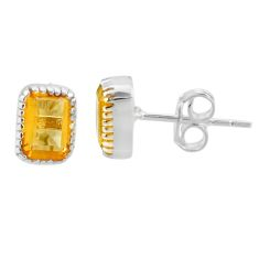 2.93cts natural yellow citrine 925 sterling silver stud earrings jewelry t22230