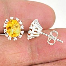 3.84cts natural yellow citrine 925 sterling silver stud earrings jewelry t4486