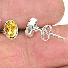 1.79cts natural yellow citrine 925 sterling silver stud earrings jewelry t4563