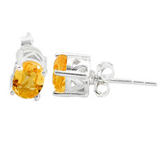 3.04cts natural yellow citrine 925 sterling silver stud earrings jewelry t4842
