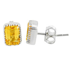 2.54cts natural yellow citrine 925 silver handmade stud earrings jewelry t7380