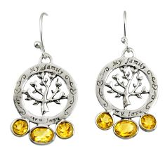 5.54cts natural yellow citrine 925 sterling silver tree of life earrings r32999